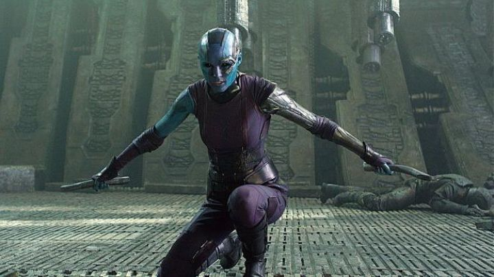 The costume / cosplay of Nebula (Karen Gillan) in Guardians of the Galaxy Vol.2 Movie