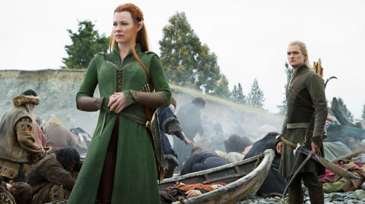 The costume elvish Tauriel (Evangeline Lilly) in The Hobbit : The Battle of the Five Armies Movie