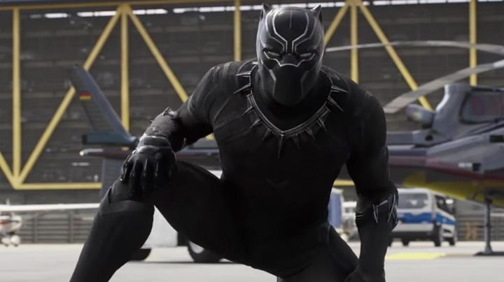 The costume of the Black Panther T Challa (Chadwick Boseman) in a Black Panther