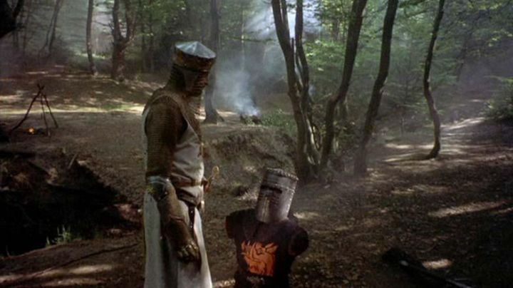 The costume of the black Knight (John Cleese) in Monty Python - the Holy Grail !
