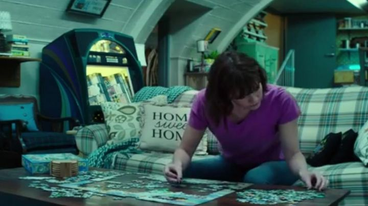 "The cushion ""home sweet home"" in 10 Cloverfield Lane - Movie Outfits and Products"