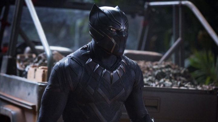 The disguise Black Panther T Challa (Chadwick Boseman) in a Black Panther Movie