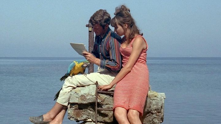 The dress covered red of Marianne Renoir (Anna Karina) in Pierrot le Fou Movie