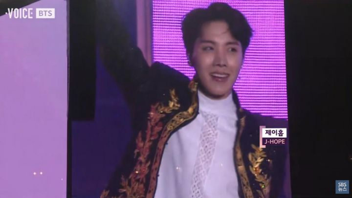 The embroidered jacket worn by J-Hope during a live performance of BTS movie