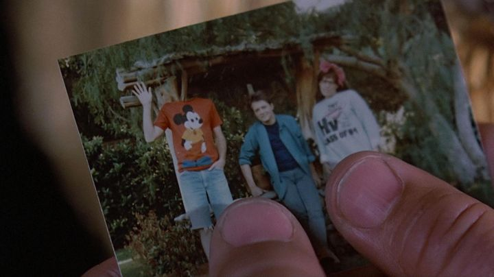 The family photo of Marty McFly (Michael J. Fox) in back to the future movie