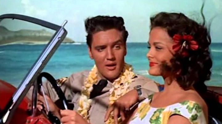 The flower necklace hawaii Chad Gates (Elvis Presley) in Under the blue sky of Hawaii