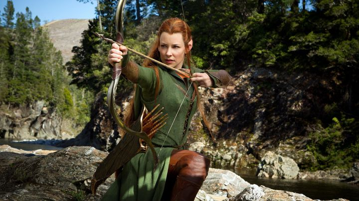 The green arc of Tauriel (Evangeline Lilly) in The Hobbit : The desolation of Smaug - Movie Outfits and Products
