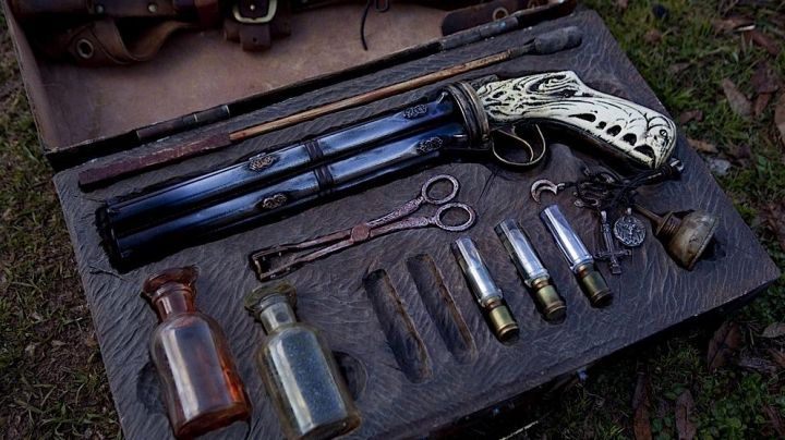"The gun ""Godkiller"" of Milton (Nicolas Cage) in Hell Driver movie"