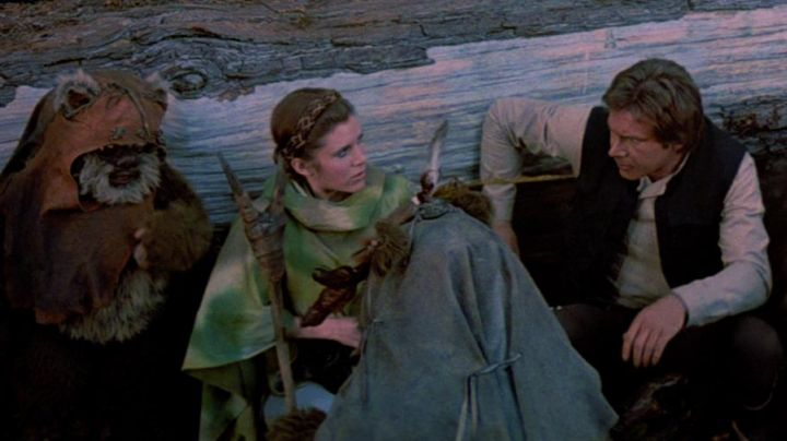 The hairstyle of princess Leia (Carrie Fisher) in Star Wars VI : return of The Jedi - Movie Outfits and Products