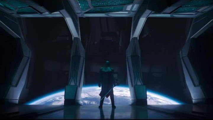 The hammer of Ronan the Accuser (Lee Pace) in Captain Marvel Movie