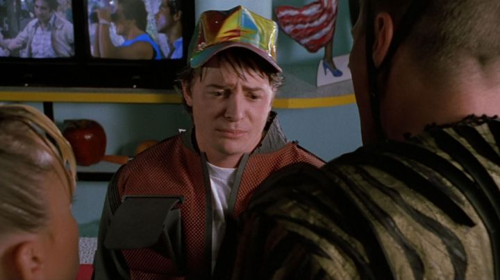 The hat of Marty McFly (Michael J. Fox) in back to the future movie