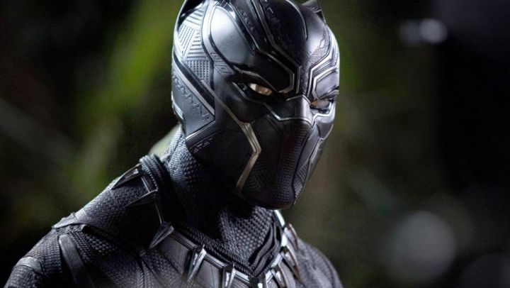 The helmet worn by Thee Challa / Black Panther (Chadwick Boseman) in a Black Panther Movie