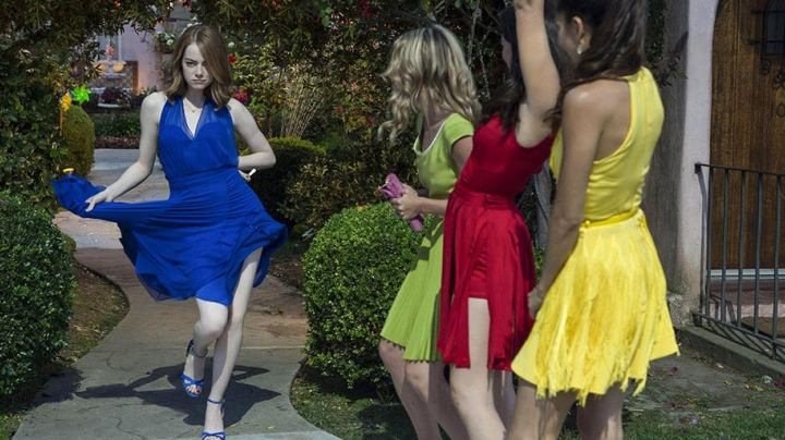 The high-heeled shoes blue Mia (Emma Stone) in the The Land - Movie Outfits and Products