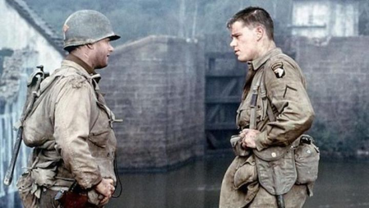 The holding of a paratrooper scope for Private Ryan (Matt Damon) in saving private Ryan Movie