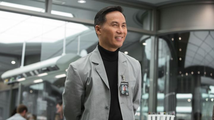 The jacket gray laboratory of Dr. Henry Wu (B. D. Wong) in Jurassic World