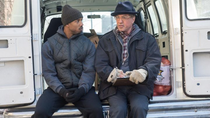 The jacket without sleeve Nike Downtown 550 Michael B. Jordan in Creed movie