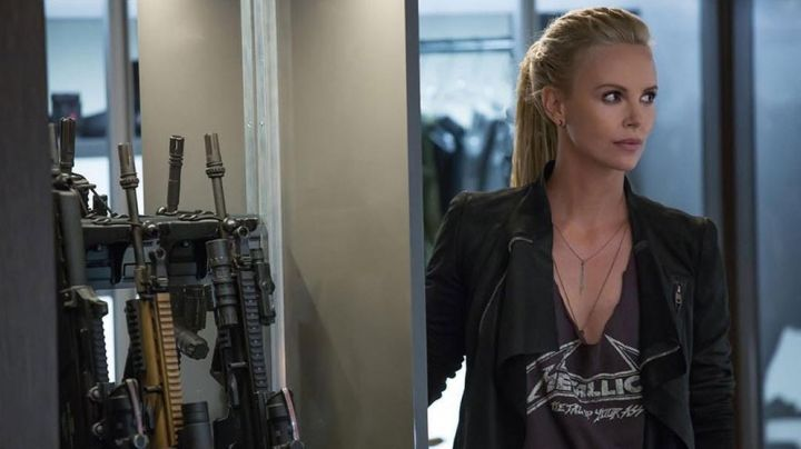 The leather jacket of Cipher (Charlize Theron) in Fast and Furious 8 movie
