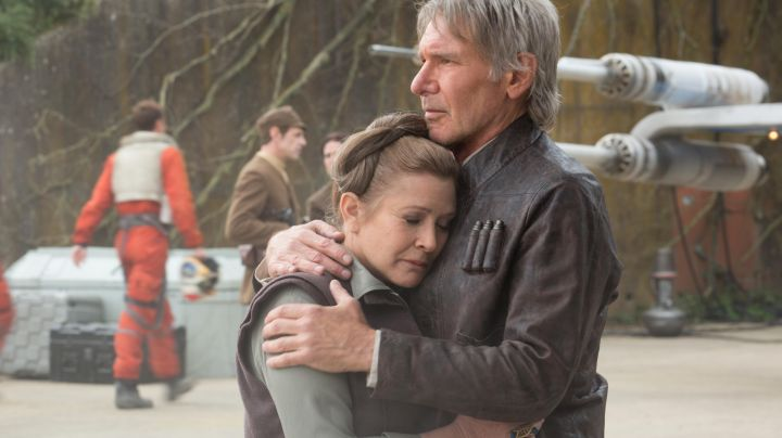 The leather jacket of Han Solo (Harrison Ford) in Star Wars 7 movie