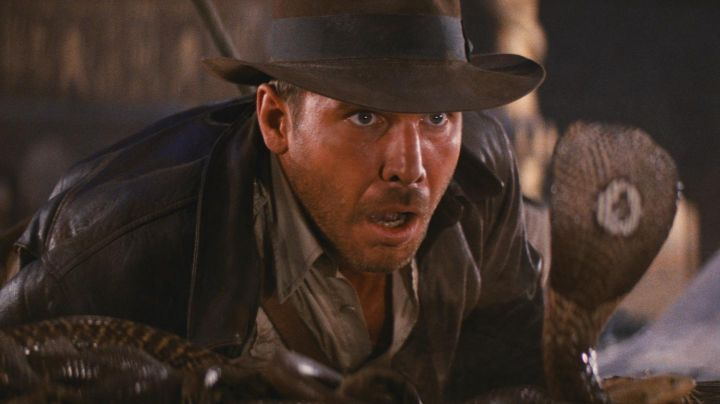 The leather jacket of Indiana Jones (Harrison Ford) in raiders of the lost Ark movie