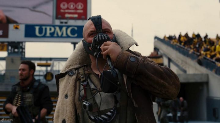 The leather jacket stuffed with Bane (Tom Hardy) in The Dark Knight Rises - Movie Outfits and Products