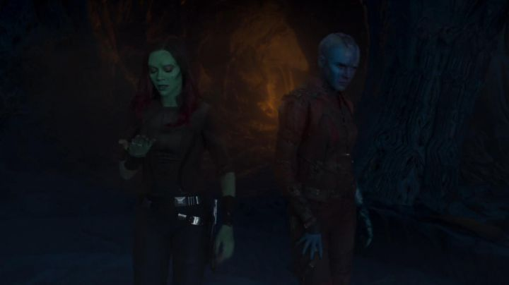 The leather pants of Gamora (Zoe Saldana) in The Guardians of the Galaxy Volume 2 movie