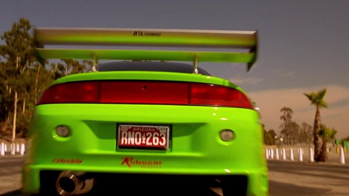 """The license plate """"RNO 263"""" of the car Eclipse the green of Brian O'conner (Paul Walker) in 2 fast 2 furious Movie"""