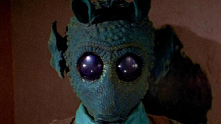 The mask of Greedo (Larry Ward) in Star Wars IV : A new hope - Movie Outfits and Products