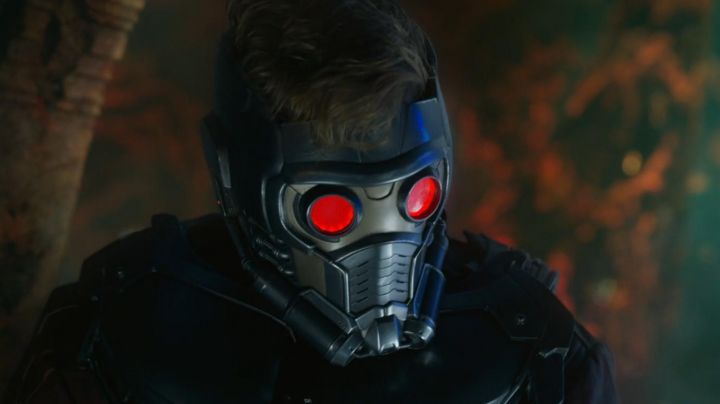 The mask of Star Lord (Chris Pratt) in Guardians of the galaxy Volume 2 movie