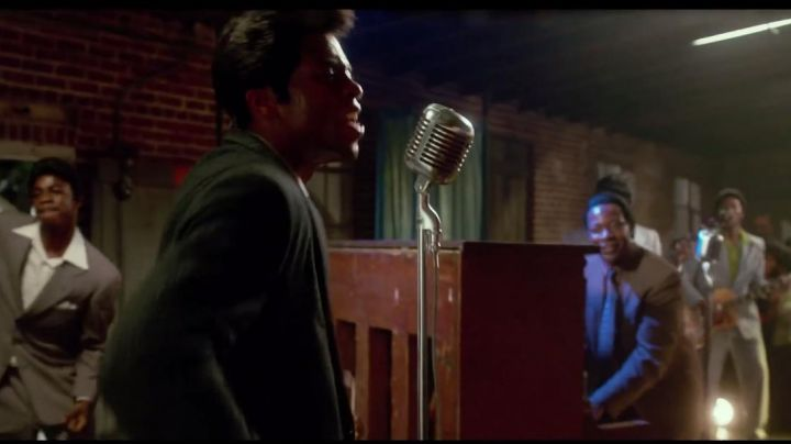 """The microphone vintage James Brown (Chadwick Boseman) in """" Get On Up - Movie Outfits and Products"""
