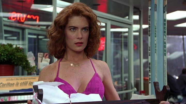 """The necklace with pendant """"Wayne"""" worn by Stacy (Lara Flynn Boyle) in Wayne's World - Movie Outfits and Products"""
