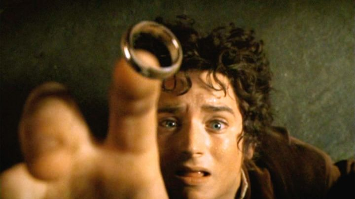 The one ring carried by Frodo Baggins (Elijah Wood) in Lord of The Rings movie