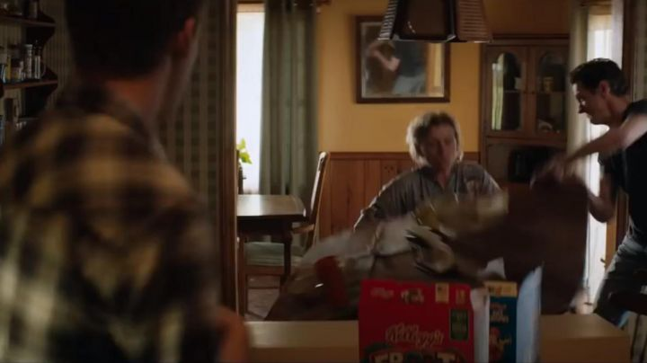 The package of Kellogg's Froot Loops in 3 Billboards panels of vengeance - Movie Outfits and Products
