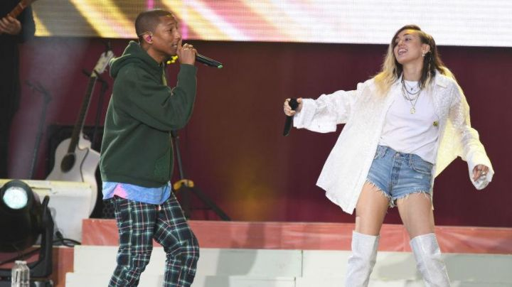 The pants scottish Pharrell Williams in concert One Love Manchester - Movie Outfits and Products