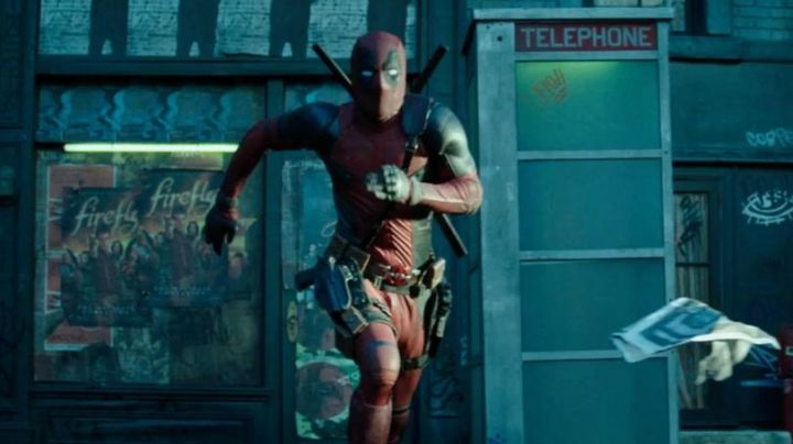 The poster of the first season of the series Firefly visible in a shop window in Deadpool 2 - Movie Outfits and Products