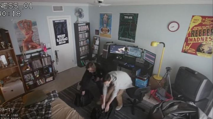 The poster of the movie Reefer Madness seen in the room with Ethan (Logan Miller) in The Good Neighbor - Movie Outfits and Products