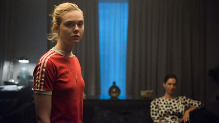 The red T-shirt with Adidas 3-stripes worn by Violet (Elle Fanning) in Teen Spirit Movie