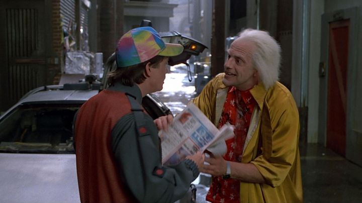 The red jacket and a black Marty McFly (Michael J. Fox) in Back to the Future 2 movie