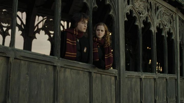 The scarf of the house Gryffindor worn by Hermione Granger (Emma Watson) in Harry Potter and the goblet of fire movie