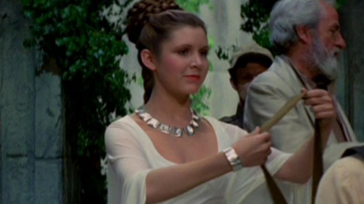 The silver bracelet of Princess Leia (Carrie Fisher) in Star wars