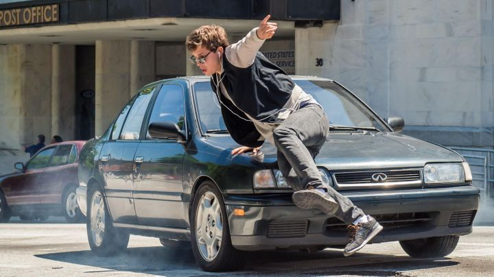 The sneakers New Balance black Baby (Ansel Elgort) in the movie Baby driver - Movie Outfits and Products