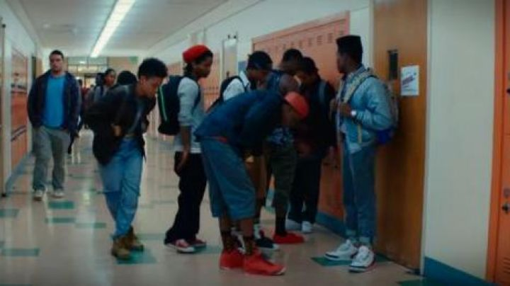 The sneakers red high tops in the film Dope - Movie Outfits and Products