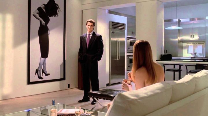"""The stool """"Barcelona"""" in the apartment of Patrick Bateman (Christian Bale) in American Psycho movie"""