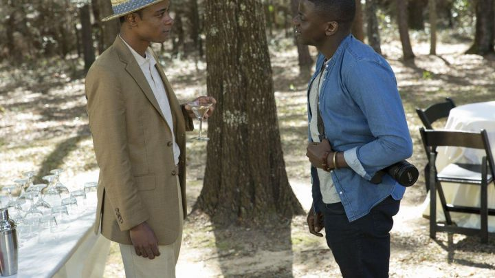 The suit pants of Andre Hayworth/Logan King (LaKeith Stanfield) in Get Out