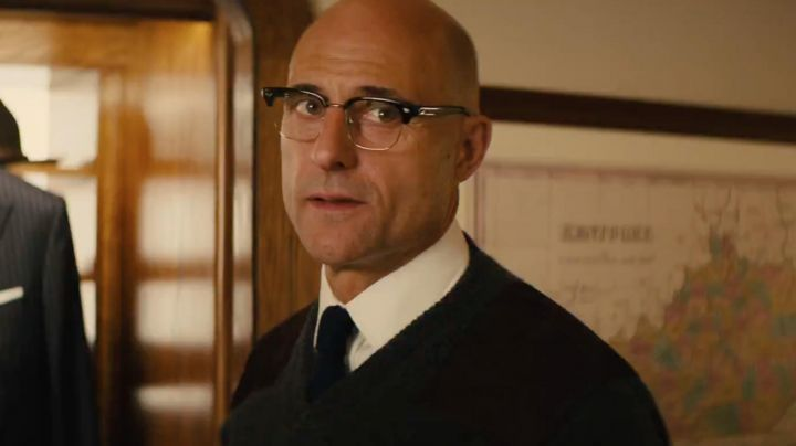 The sweater Mr Porter of Merlin (Mark Strong) in Kingsman : The golden circle
