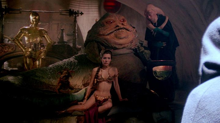 The swimsuit in metal copper of Princess Leia (Carrie Fisher) in return of The Jedi - Movie Outfits and Products
