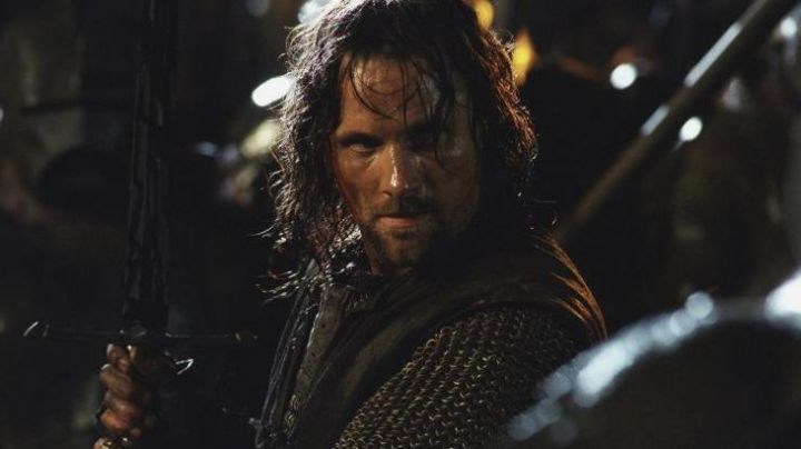The sword of Aragorn (Viggo Mortensen) in the Lord of The Rings movie