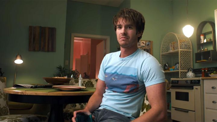 """The t-shirt sky blue """"Jungle King Arcade Game"""" 1982 Sam (Andrew Garfield) in Under the Silver Lake Movie"""
