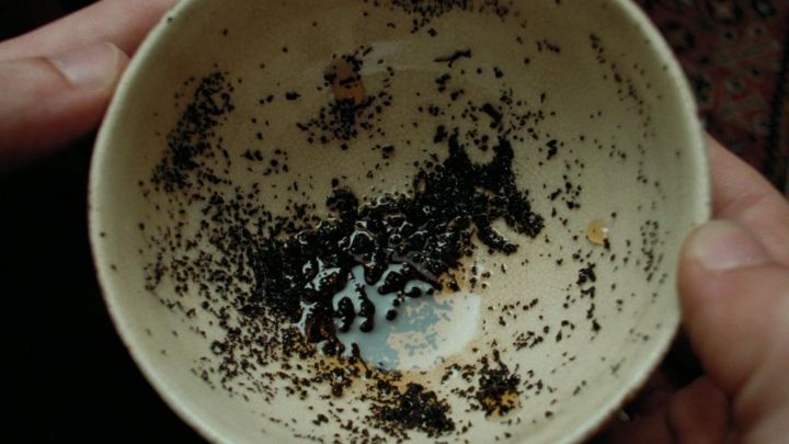 The tea cup divination in Sybill Trelawney (Emma Thompson) in Harry Potter and the prisoner of Azkaban Movie