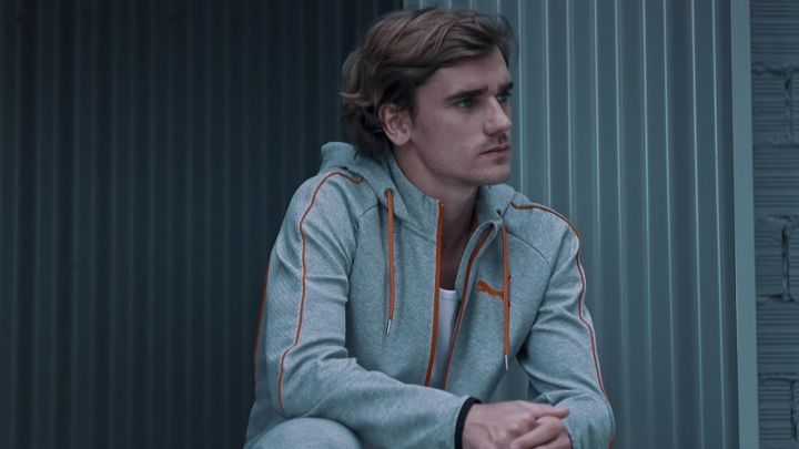 The tracksuit jacket hoodie gray with orange stitching