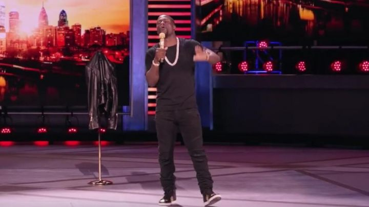 The trousers from the brand Balmain worn by Kevin Hart in the show
